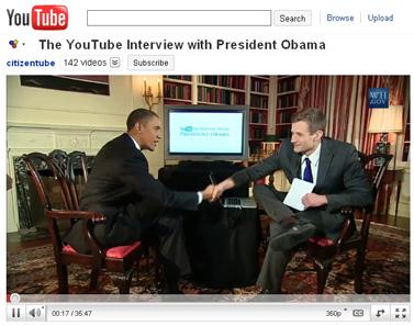 """נשיא ארה""""ב ברק אובמה בראיון עם אתר יו-טיוב, ביו-טיוב (צילום מסך)"""