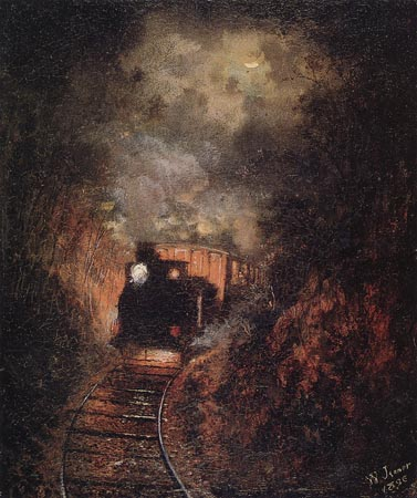"""""""רכבת קיטור מגיחה מן העיקול אל תחנת גודווד"""", אייזיק וולטר ג'נר, 1896 (Isaac Walter Jenner)"""