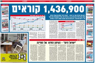"""כפולת העמודים 6–7, """"ישראל היום"""". 19.1.11"""