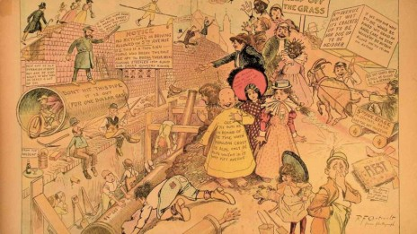 """""""הילד הצהוב"""", """"הילד הצהוב בודק את רחובות ניו-יורק"""", """"ניו-יורק ג'ורנל"""", 10 באוקטובר 1897"""