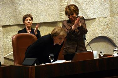 קנצלרית גרמניה, אנגלה מרקל, אתמול בכנסת (צילום: פלאש 90)