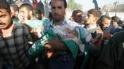 הלווית הילדים הפלשתינאים שנהרגו ברצועת עזה, אתמול (צילום: פלאש 90)