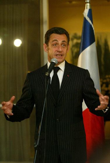 נשיא צרפת ניקולא סרקוזי, במסיבת עיתונאים אתמול בבית ראש-הממשלה (צילום: אוליביה פיטוסי)