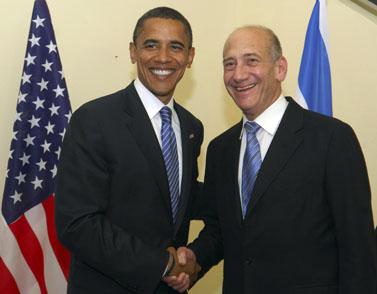 """ברק אובמה (משמאל) ואהוד אולמרט (צילום: לע""""מ, פלאש 90)"""