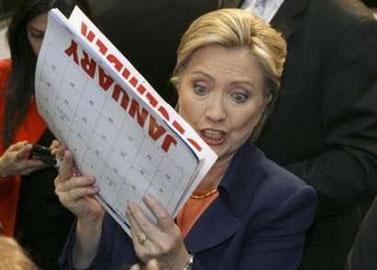 הילארי קלינטון באספת בחירות בינואר השנה (צילום מן הטלוויזיה)