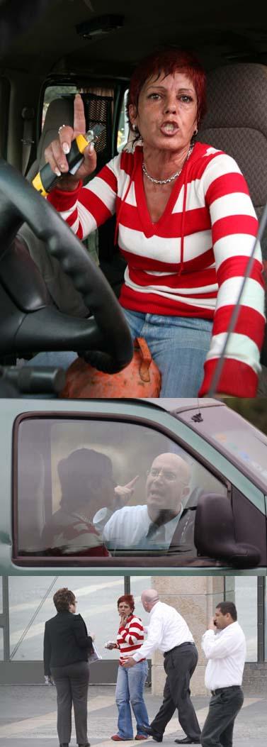 """מלמעלה: סימה רווח במכוניתה, בלון הגז בין רגליה; משוחחת עם מנכ""""ל הכנסת אבי בלישניקוב; דליה איציק מצטרפת לתמונה (צילומים: פלאש 90)"""