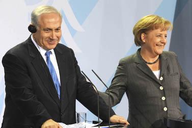"""ראש הממשלה בנימין נתניהו וקנצלר גרמניה אנגלה מרקל, אתמול בברלין (צילום: משה מילנר, לע""""מ)"""
