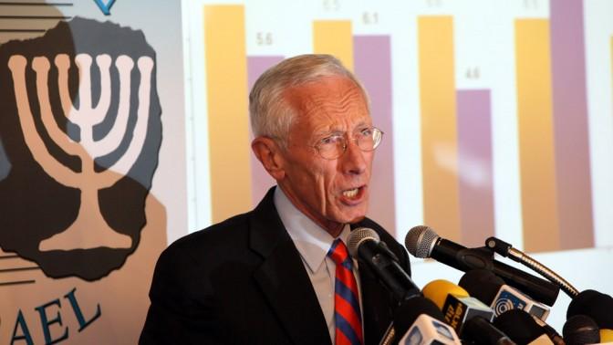 נגיד בנק ישראל סטנלי פישר במסיבת עיתונאים בירושלים, ספטמבר 2011 (צילום: יוסי זמיר)