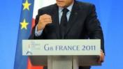נשיא צרפת ניקולא סרקוזי נואם ביום הראשון של ועידת ה-G8 בצרפת (צילום: Guillaume Paumier, רשיון cc)