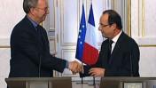 """נשיא צרפת פרנסואה הולנד (מימין) ויו""""ר גוגל אריק שמידט (צילום מסך: לשכת העיתונות של נשיא צרפת)"""