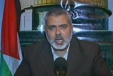 ראש ממשלת חמאס, אסמאעיל הנייה, נואם ממקום מסתורו, אתמול