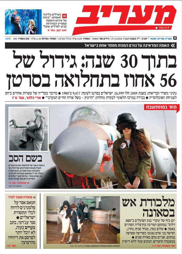 """""""מעריב"""", עמוד השער, 27.12.12"""
