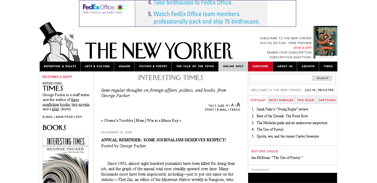 Annual Reminder- Some Journalism Deserves Respect!- Interesting Times - The New Yorker