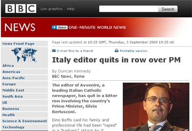 BBC NEWS  Entertainment  Italy editor quits in row over PM
