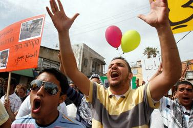 הפגנה לרגל יום האדמה ביפו, 28 במרץ 2008 (צילום: פלאש 90)