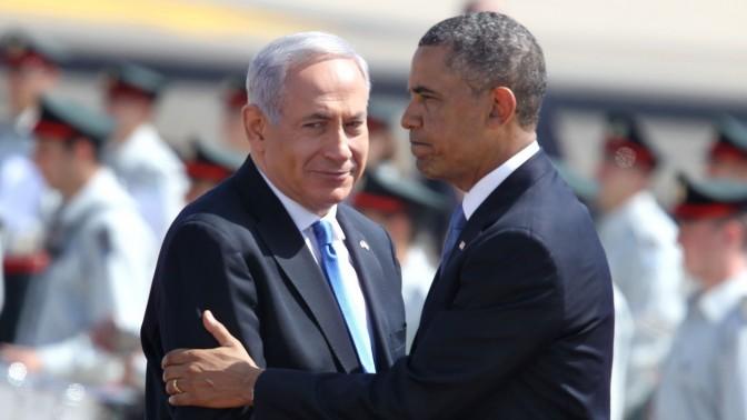 """נשיא ארה""""ב ברק אובמה וראש ממשלת ישראל בנימין נתניהו, אתמול בשדה התעופה בן גוריון (צילום: מרים אלסטר)"""