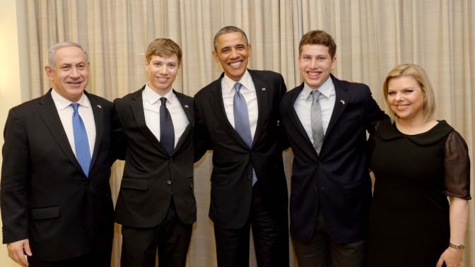 """נשיא ארה""""ב ברק אובמה ומשפחת נתניהו, 20.2.13 (צילום: אבי אוחיון, לע""""מ)"""