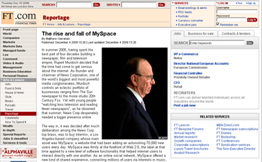 FT.com - Reportage - The rise and fall of MySpace