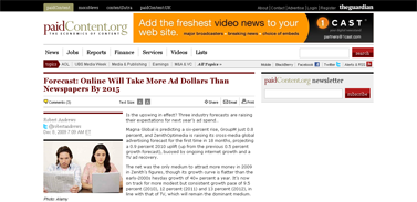 Forecast- Online Will Take More Ad Dollars Than Newspapers By 2015  paidContent