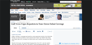 Gulf News Urges Reporters to Tone Down Dubai Coverage - WSJ.com