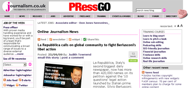 Journalism.co.uk -- La Repubblica calls on global community to fight Berlusconi's libel action