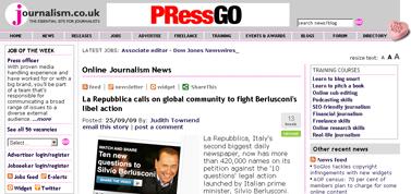 Journalism.co.uk -- La Repubblica calls on global community to fight Berlusconi's libel action