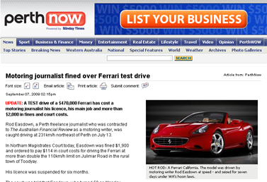 Motoring journalist fined over Ferrari test drive  PerthNow