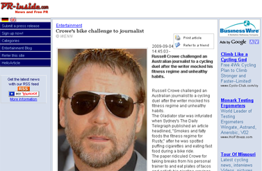 NEWS Crowe' bike challenge toournalistMusicmovie Entertainment News