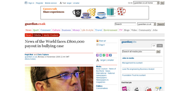 News of the World faces £800,000 payout in bullying case  Media  The Guardian