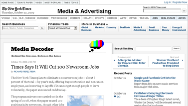 Times Says It Will Cut 100 Newsroom Jobs - Media Decoder Blog - NYTimes.com