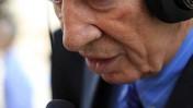 """נשיא המדינה שמעון פרס מתראיין לגלי צה""""ל, אתמול (צילום: קובי גדעון)"""