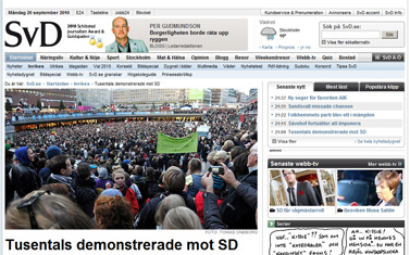 """אתר העיתון """"Svenska Dagbladet"""", מהגדולים בשבדיה, מסקר הפגנה נגד מפלגת הדמוקרטים-השבדים (צילום מסך)"""