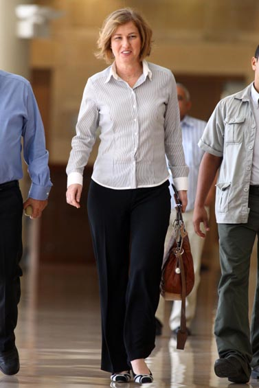 """ח""""כ ציפי לבני, ראש מפלגת קדימה, היום בכנסת (צילום: אביר סולטן)"""