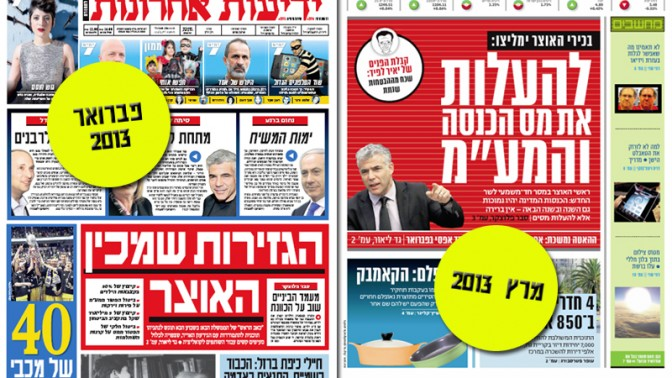 """משמאל: שער """"ידיעות אחרונות"""" מה-8 לפברואר 2013, ושער המוסף הכלכלי של """"ידיעות אחרונות"""", """"ממון"""", מה-17 למרץ 2013"""