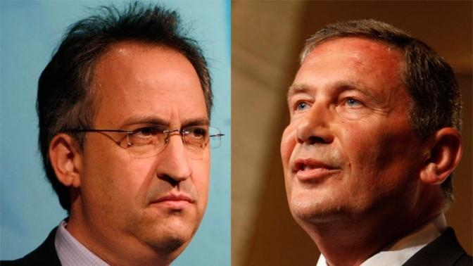 """איש העסקים נוחי דנקנר (מימין) ועורך """"דה מרקר"""" גיא רולניק (צילומים: מרים אלסטר)"""