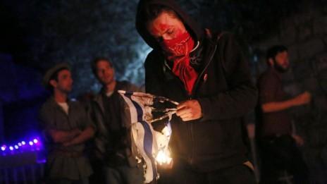 רדיקל שמאלי מציין את יום העצמאות הישראלי בירושלים, שלשום (צילום: מרים אלסטר)