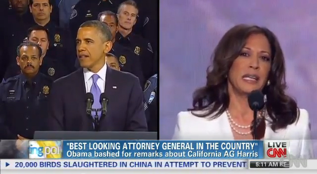 דיון ב-CNN על התבטאותו של הנשיא אובמה ביחס לתובעת האריס (צילום מסך)