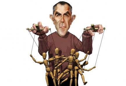 """קריקטורה של שלמה כהן שב""""ישראל היום"""" השתמשו בה כמה פעמים לעיטור פרסומים נגד """"ידיעות אחרונות"""" וארנון (נוני) מוזס"""