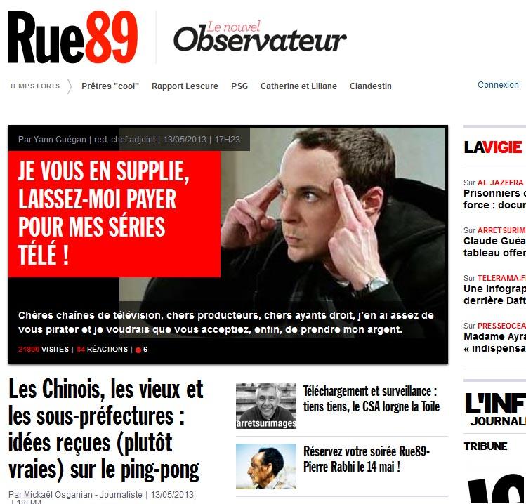 """מתוך דף הבית של האתר הצרפתי """"Rue89"""" (צילום מסך)"""