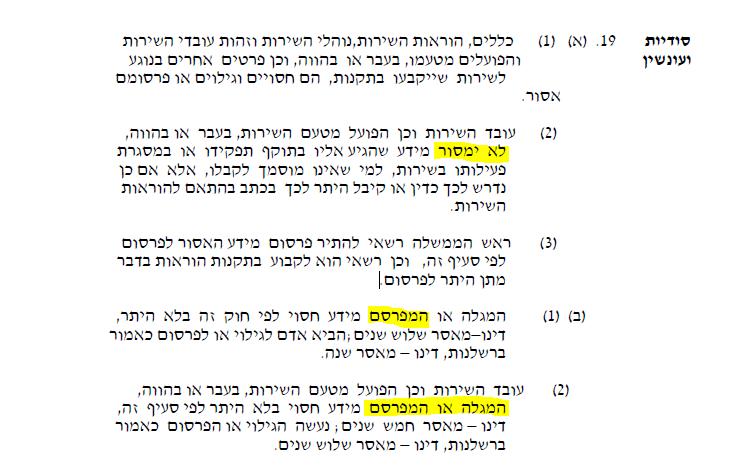 """מתוך סעיף 19 לחוק השב""""כ 2002, המחיל ענישה פלילית על המקור ועל העיתונאי גם יחד"""