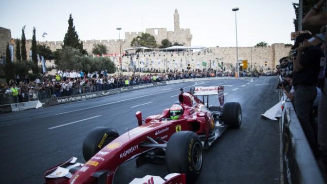 """מופע מכוניות מירוץ בחסות """"ישראל היום"""", אתמול בירושלים (צילום: יונתן זינדל)"""