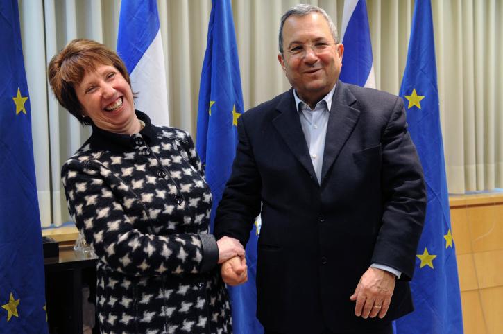 שר הביטחון לשעבר אהוד ברק ונציגת האיחוד האירופי קתרין אשטון (צילום: אריאל חרמוני, משרד הביטחון)