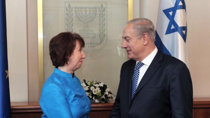 """ראש ממשלת ישראל בנימין נתניהו ונציגת האיחוד האירופי קתרין אשטון (צילום: משה מילנר, לע""""מ)"""