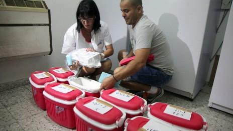 עובדי משרד הבריאות מכינים את נסיובי החיסון לחלוקה, שלשום בבאר-שבע (צילום: פלאש 90)