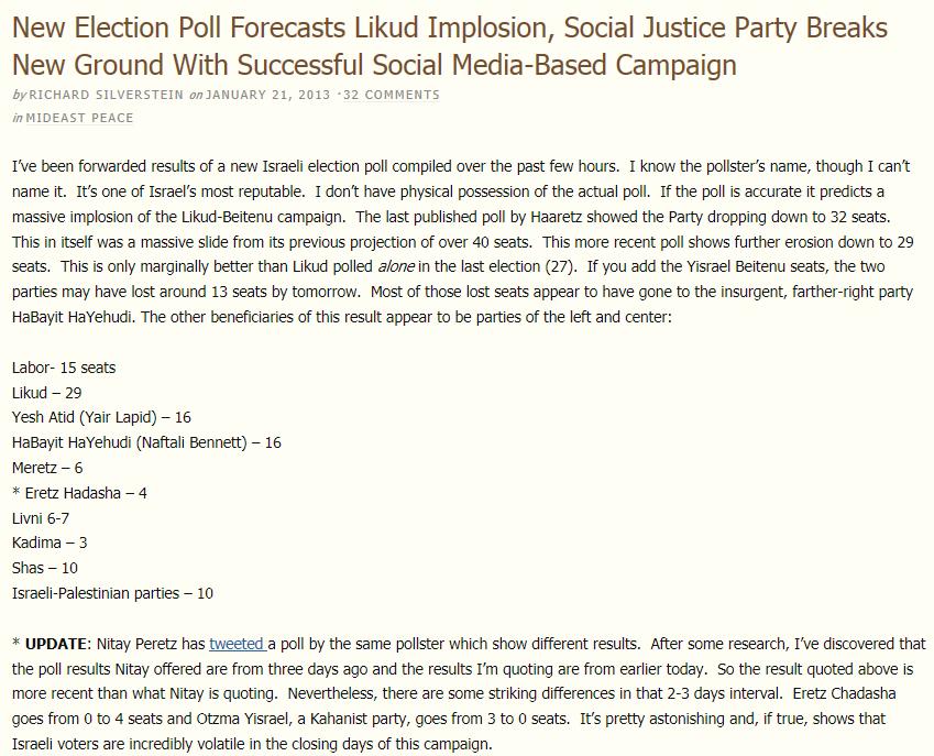 הבלוגר ריצ'רד סילברסטיין מפרסם סקר בחירות ערב יום הבחירות (צילום מסך)