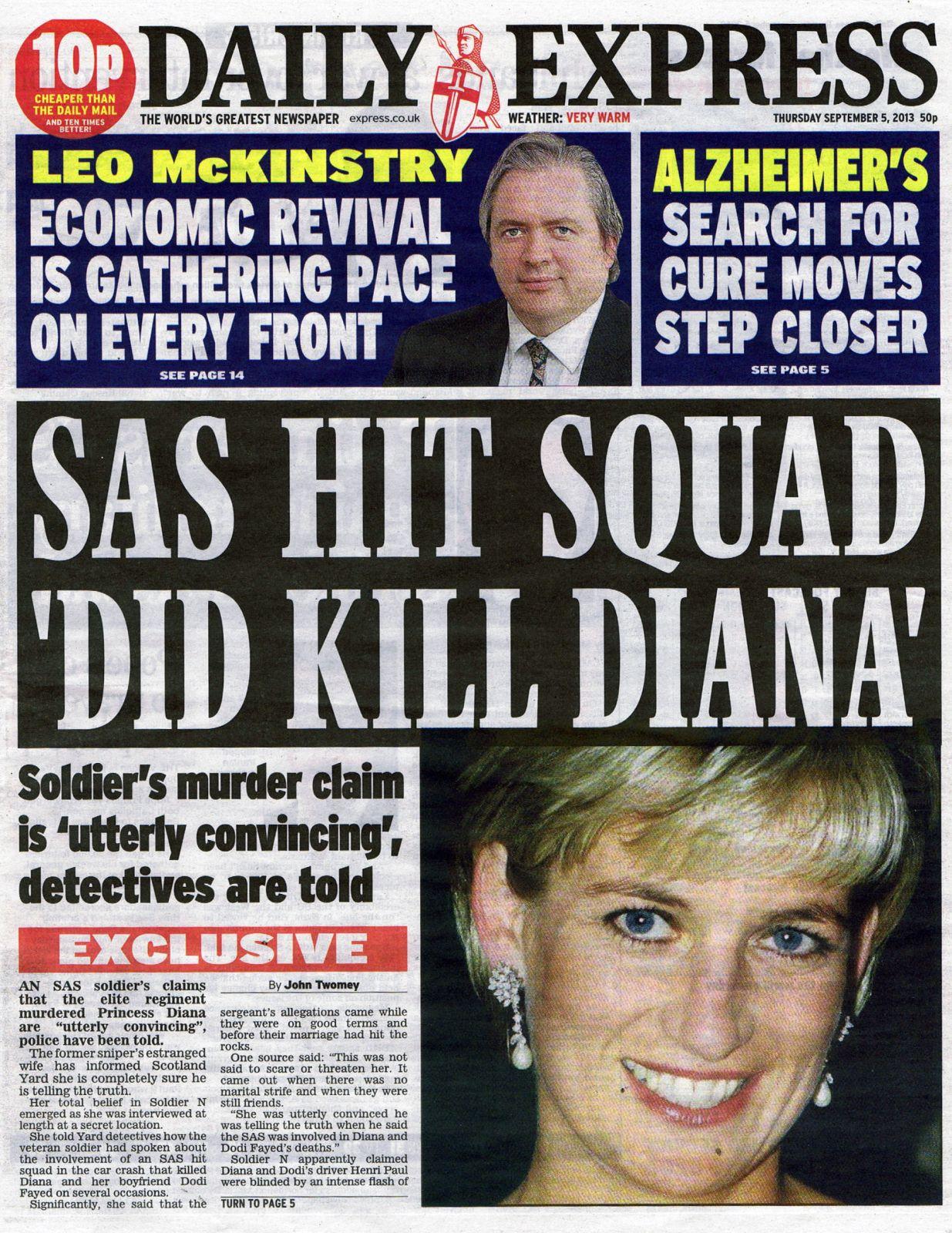 """""""יחידת חיסול של ה-SAS אכן הרגה את דיאנה"""", כותרת ה""""דיילי אקספרס"""", 5.9.13"""
