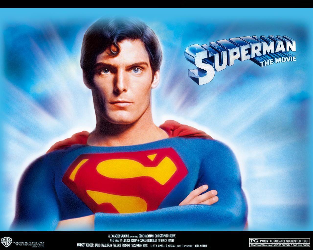 """סופרמן בגילומו של כריסטופר ריב, מתוך כרזה לסרט """"סופרמן"""", 1978"""