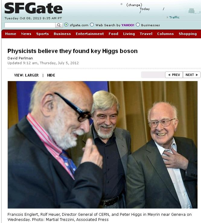 המדענים באירוע ההכרזה על גילוי החלקיק היגס-בוזון. צילומסך מ-SFGate