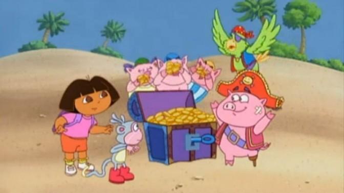 """דורה (משמאל) וחברים: קוף, תוכי וחזירים, מתוך סדרת הילדים """"דורה החוקרת"""" (צילום מסך)"""