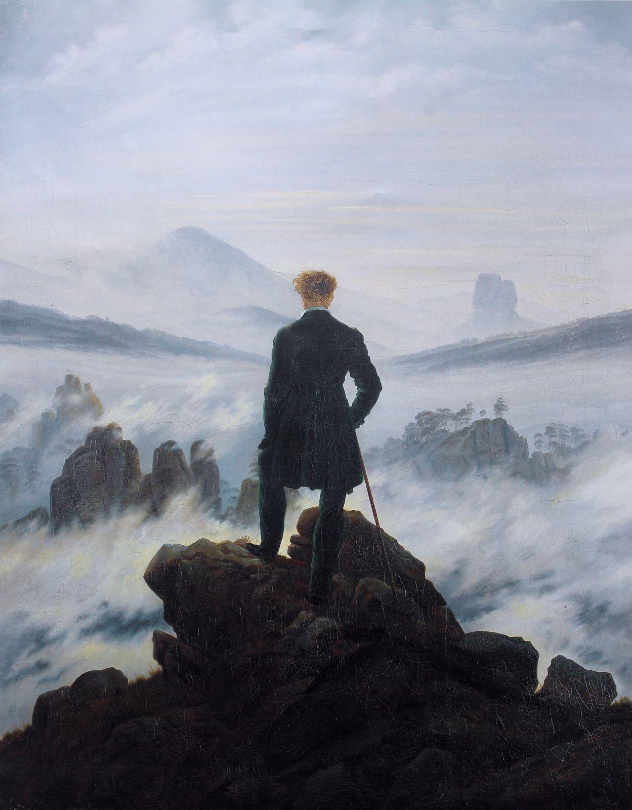 """קספר דויד פרידריך, """"ההלך מעל ים הערפל"""", 1818, המוזיאון לאמנות של המבורג"""